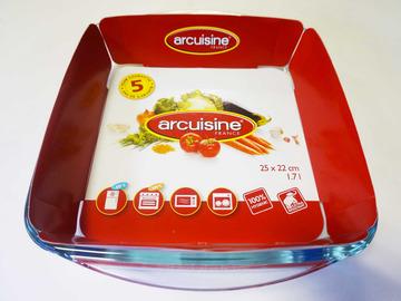 Vente: Plat de cuisson en verre rectangulaire 25 x 22 cm