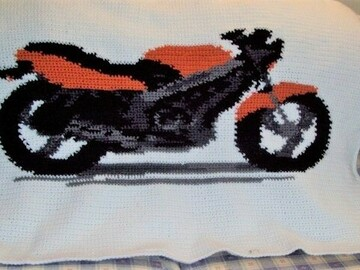 Selling with online payment: Crocheted Motorcycle Lap Afghan