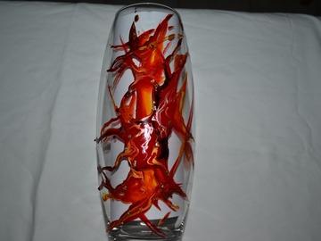 Vente au détail: Vase en verre peint style Murano rouge