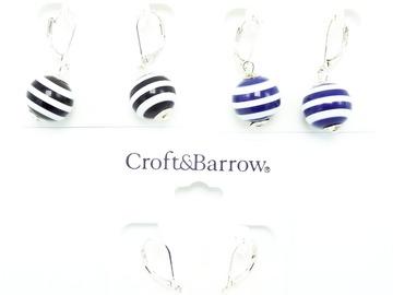 Liquidation/Wholesale Lot: Dozen Croft & Barrow Summer Stripe Earrings $144 Value