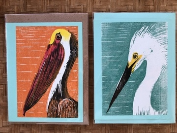 Selling with online payment: Florida Birds Handprinted Notecards