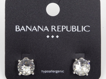 Liquidation/Wholesale Lot: Dozen Rhinestone Solitaire Earrings by Banana Republic