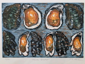 Selling with online payment: Oyster Woodblock Print