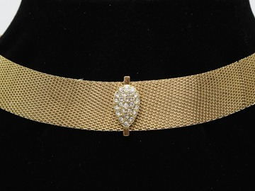 Liquidation/Wholesale Lot: Dozen Gold Rhinestone Pave Choker Necklaces