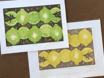 Selling with online payment: Lemon and Lime Woodblock Prints