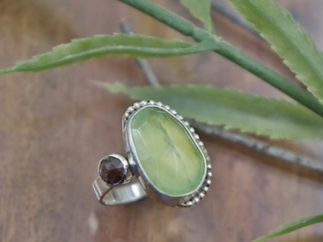 Selling: Prehnite Diamond Ring
