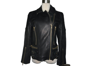 For Sale: JERRI JONES:  The Blondie Black Leather Jacket with Gold hardware