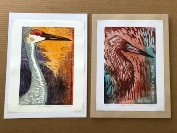 Selling with online payment: Crane and Egret Woodblock Portraits