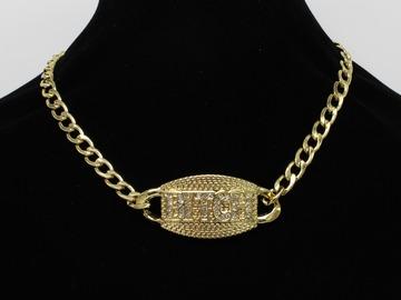 "Liquidation/Wholesale Lot: 24 Gold & Hematite Tone ""Bitch"" Rhinestone pendant Necklaces"