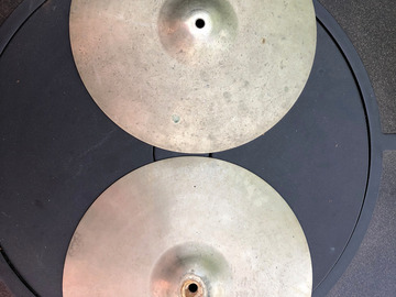 "Selling with online payment: Stanople / Paiste vintage thin 14"" hi hat pair 1960's"