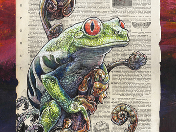"Selling with online payment: Tree Frog Illustration on page - 11"" x 14"" Archival Print"