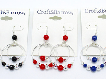 Buy Now: Dozen Croft & Barrow Silver Drop Earrings with Colorful Beads