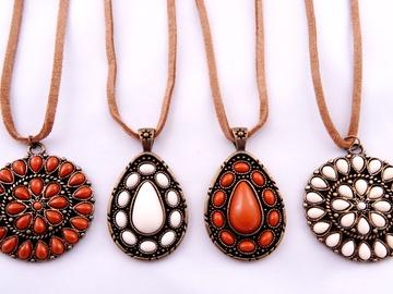 Liquidation/Wholesale Lot: Dozen New Suede Cord Necklaces with Various Medallion Pendants