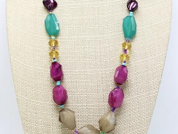 Liquidation/Wholesale Lot: Dozen New Colorful Beaded Statement Necklaces