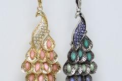 Liquidation/Wholesale Lot: Dozen Rhinestone Peacock Pendant Necklaces by Target