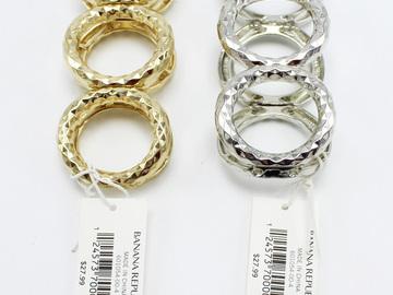 Liquidation/Wholesale Lot: Dozen Gold & Silver Hammered Stretch Bracelets by Banana Republic