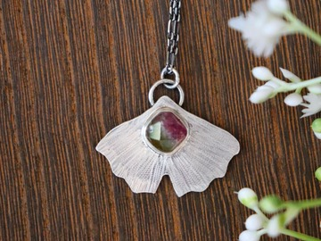 Selling: Tourmaline Ginkgo Leaf Necklace
