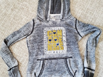 Selling A Singular Item: Adult XS hooded sweatshirt, grey with white, gold & blue writing