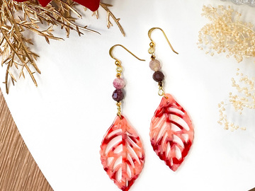 : Crimson Leaf Pendant Earrings