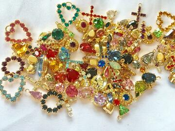 Liquidation/Wholesale Lot: 50 pieces Swarovski Charms Assorted Styles & Colors-Gold finish