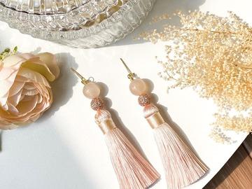 : Blossom Agate Zircon Jewelled Ball Long Tassel Earrings - Pink