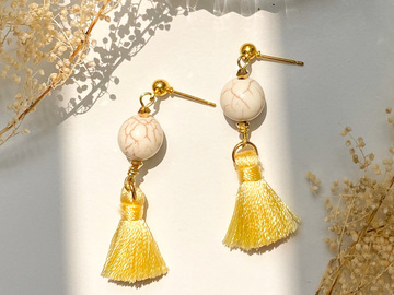 : Synthetic White Turquoise Tassel Earrings - Yellow