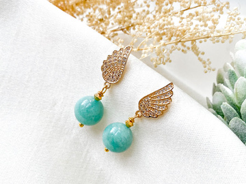 : Angel Wing Amazonite Drop Earrings