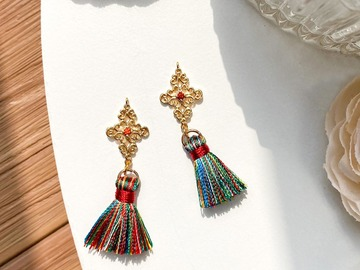 : Detailed Filigree Tassel Earrings - Bohemian