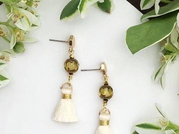 : Glassball Tassel Earrings - White