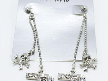 Liquidation/Wholesale Lot: Dozen Silver Skulls & Guns Rhinestone Earrings by Hot Topic