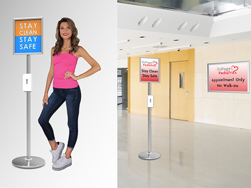 """Sell your product: Trappa Post Sanitizer Stand With 16"""" x 20"""" Snap Track Frame"""