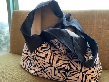 : Reversible bag  by Yvonne & Annette Beige &  Blue