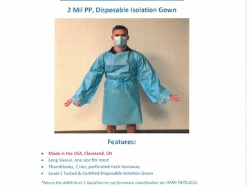 Sell your product: AAMI Certified Level 1 Poly Isolation Gowns