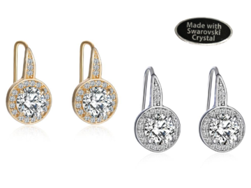 Buy Now: 12 Pair Crystal Halo Earrings made with Swarovski elements