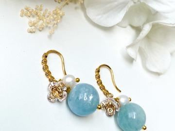 :  Plum Blossoms Aquamarine Hook Earrings - Gold