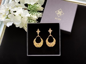: Gold Curlicue Filigree Chandelier Earrings