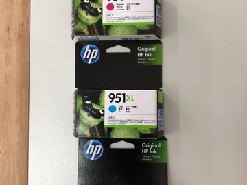 Selling without online payment: hp original ink cartridges 951XL Yellow Kuning, Cyan, and Magenta