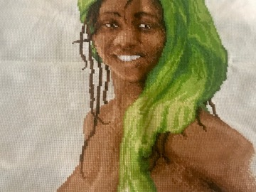 For Sale: Completed CrossStitch African Lady in Green Rare African American