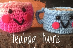 Selling with online payment: Teabag Twins Cute Crocheted Amigurumi Teacups for Tea Lovers