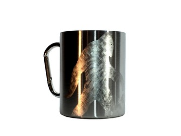 Selling with online payment: Carabiner 14oz Camping Mug Hand Engraved Bigfoot