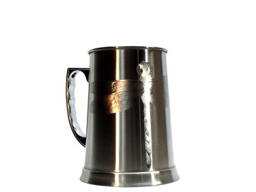 Selling with online payment: Stainless Steel Stein Beer Jug 14oz With Engraved Dragonfly