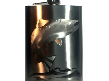 Selling with online payment: Hand Engraved Fish on Stainless Steel 8oz Flask