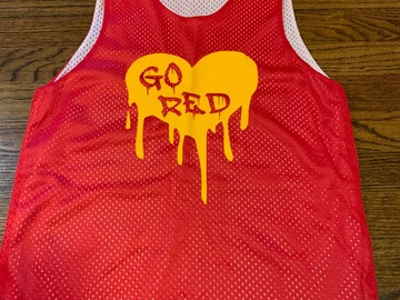 Selling multiple of the same items: Drippy Heart Reversible Jersey Go Red/ Go Gold