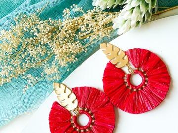 : Boho Round Tassel Earrings - Red