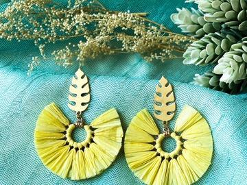 : Boho Round Tassel Earrings - Yellow