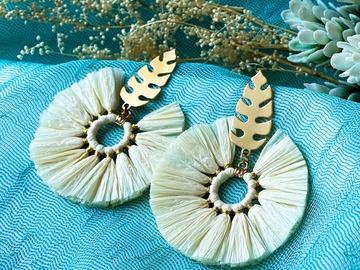 : Boho Round Tassel Earrings - White