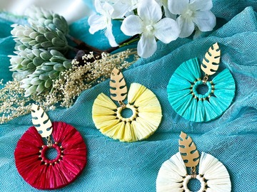 : Boho Round Tassel Earrings - Cyan