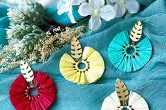 : Boho Round Tassel Earrings - Cyan