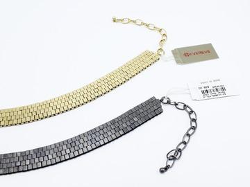 Liquidation/Wholesale Lot: Dozen Evereve High Quality Hematite & Gold Chokers $456 Value