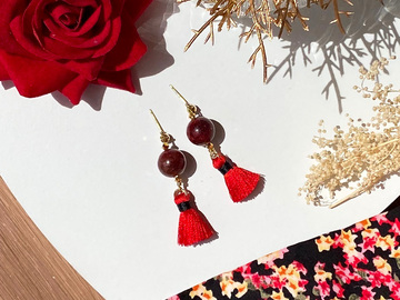 : Red Phantom Quartz Tassel Earrings